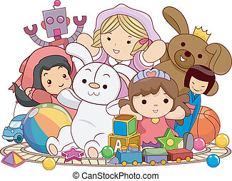 Children's Toys - Illustration Featuring an Assortment of...