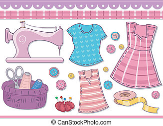 Sewing Scrapbooking Elements - Illustration Featuring...
