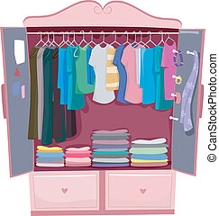Pink Armoire - Illustration of a Pink Wardrobe Full of...