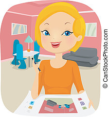 interior designer illustration of a female interior interior designer clipart