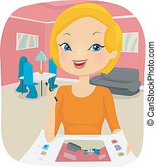 Interior Designer - Illustration of a Female Interior...