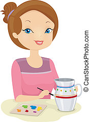 Girl Painting Pot - Illustration of a Girl Painting a Pot