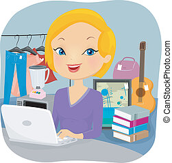 Online Selller - Illustration of a Female Online Seller...