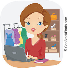 Female Online Seller - Illustration of a Female Online...