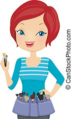 Make Up Artist - Illustration of a Female Make Up Artist...