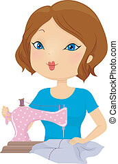 Sewing Girl - Illustration of a Pretty Woman Sewing Clothes