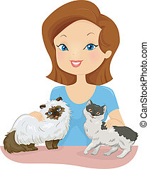 Cat Loving Woman - Illustration of a Pretty Woman Petting...