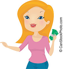 Girl Holding Money - Illustration of a Girl Holding a Wad of...
