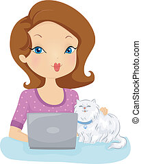 Pet Online Services - Illustration of a Woman Checking the...