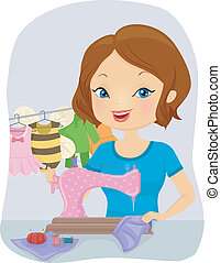 Girl Sewing Baby Costumes - Illustration of a Pretty Woman...