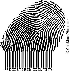 Registered Identity - Fingerprint becoming barcode vertor...