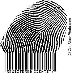 Registered Identity - Fingerprint becoming barcode (vertor...