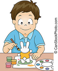 Figurine Painting Boy - Illustration of a Boy Painting a...