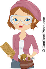 Wood Carver Girl - Illustration of a Girl Carrying Wood...