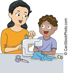 Sewing Class - Illustration of a Teacher Teaching a Male...