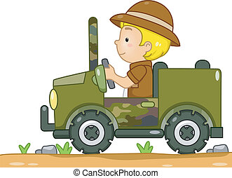 Safari Jeep - Illustration of a Boy in a Safari Outfit...