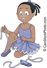 Little Ballerina - Illustration of a Little Ballerina Tying...