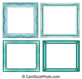 set of vintage blue frame with blank space and clipping...