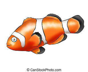 Fish Clown - Catoon fish. Computer Design. 2D artwork.