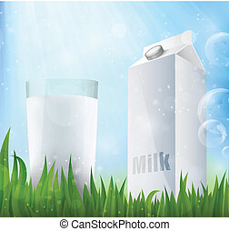 Fresh milk in a glass container of milk
