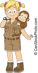 Safari Girl with Monkey - Illustration of a Girl in a Safari...