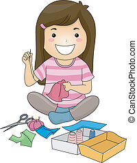 Sewing Girl - Illustration of a Cute Little Girl Sewing a...