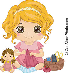 Doll Dress - Illustration of a Cute Little Girl Sewing a...