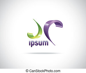 Abstract Vector Logo Design Template. Creative Green Purple...