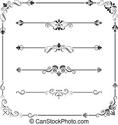 Vintage Vector Frame Border Divider Corner - Set of vintage...