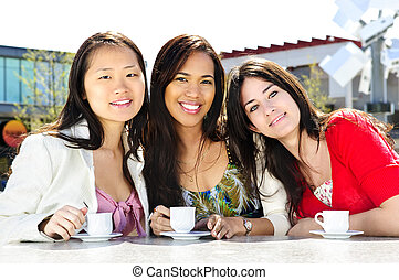 Group of girlfriends having coffee - Group of girl friends...