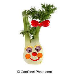 Healthy eating Funny face made of vegetables and fruits