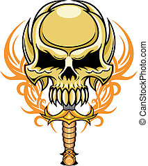 artistic skull - illustration of brown skull with blade in...