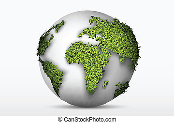 globe with a green grass