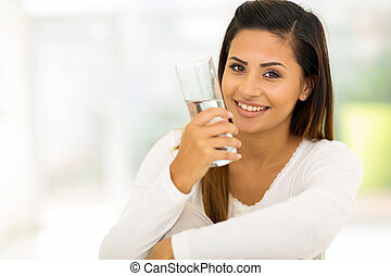 cute girl with glass of water