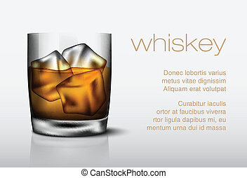 glass of whiskey with ice background, shape, glass, closeup