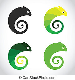 Vector group of chameleon on white background