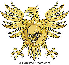 eagle with shield - illustration of brown eagle with shield...