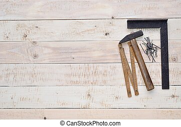 Carpenter tools on wood with space - Carpenter tools -...