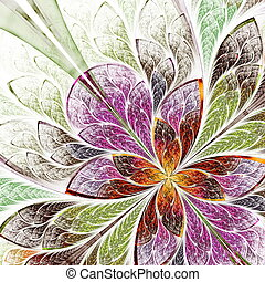 Beautiful fractal flower in beige, green and violet....