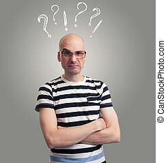 Questions. bald man with silly grimace