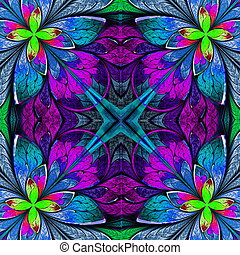 Multicolor beautiful fractal in stained glass window style....