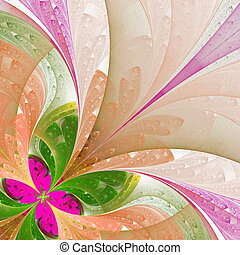 Beautiful fractal flower in green and pink. Computer...