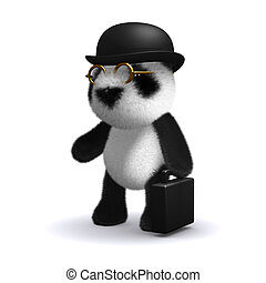 3d Panda bear businessman - 3d render of a baby panda bear...