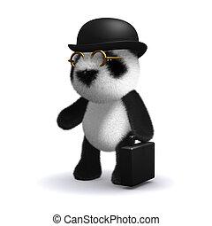 3d Panda bear businessman - 3d render of a baby panda bear...