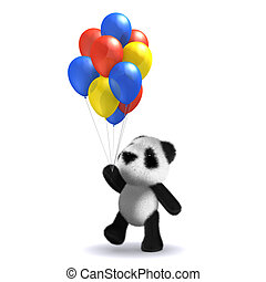 3d Baby panda bear with balloon - 3d render of a baby panda...