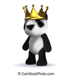 3d King panda bear - 3d render of a baby panda bear wearing...