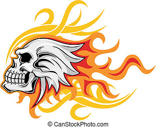 flaming skull - illustration of skull with flaming...