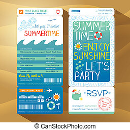 summertime holiday party boarding pass background template...