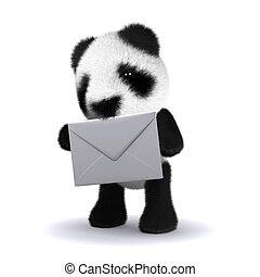 3d Panda bear with envelope - 3d render of a baby panda bear...