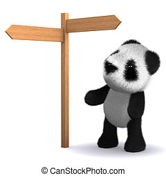 3d Panda bear at road sign - 3d render of a baby panda bear...